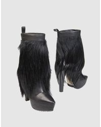 Alexander Wang - Black Faux-Fur and Goatskin Boots - Lyst