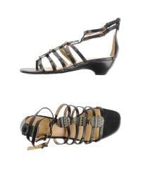 Nine West | Black Toe Post Sandal | Lyst