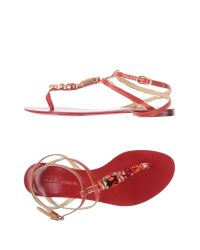 Dolce & Gabbana - Red Toe Strap Sandal - Lyst