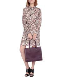 Valextra Purple Large Leather Bag