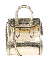Alexander McQueen Gray Heroine Mini Satchel Bag Gold