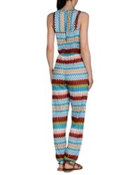 Missoni Blue Crochet Knit Jumpsuit
