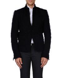 Rick Owens - Black High Neck Suede Jacket for Men - Lyst