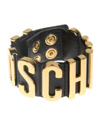 Moschino | Metallic Black Leather Gold Plated Cuff | Lyst