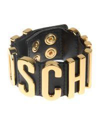 Moschino - Metallic Black Leather Gold Plated Cuff - Lyst