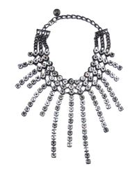 Lanvin Metallic Crystal Strand Necklace