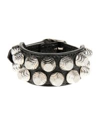 Balenciaga | Black Giant Triple Tour Textured-leather And Silver-tone Bracelet | Lyst