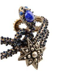 Roberto Cavalli - Snake Star Bracelet W/blue Stone - Lyst