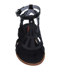 Pollini Black Toe Post Sandal