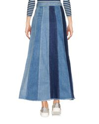 Saint Laurent - Blue Denim Skirt - Lyst