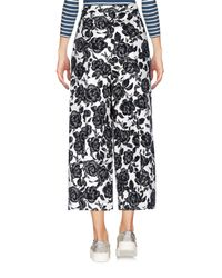 MSGM White Floral Print Cropped Trousers