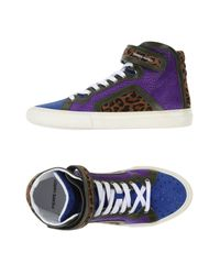 Pierre Hardy Blue Contrastpanel High Top Trainers