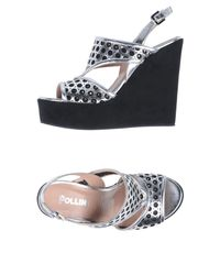 Pollini Metallic Sandals