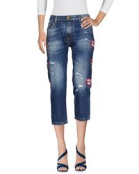 Frankie Morello - Blue Denim Capris - Lyst