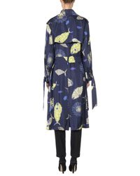 Emilio Pucci Blue Belted Printed Silk-twill Trench Coat