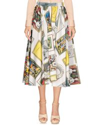 Olympia Le-Tan White 3/4 Length Skirt
