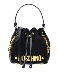 Moschino Black Logo Leather Mini Shoulder Bag
