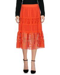 Diane von Furstenberg Orange 3/4 Length Skirt