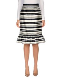 RED Valentino - White Striped Knee-length Skirt - Lyst