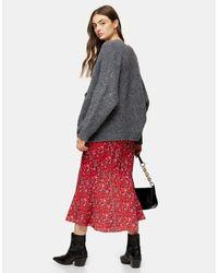 TOPSHOP Red Long Skirt