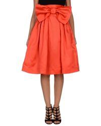 Leitmotiv Red Knee Length Skirt