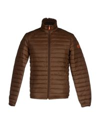Save The Duck Brown Synthetic Down Jacket for men