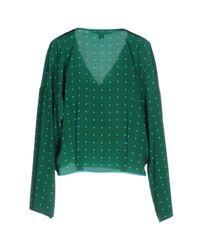 Diane von Furstenberg Woman Wrap-effect Polka-dot Silk Crepe De Chine Top Forest Green