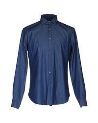 Bagutta Blue Denim Shirt for men