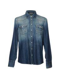 Care Label Blue Denim Shirts for men