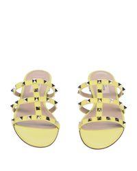 Valentino Yellow Rockstud Leather Sandals