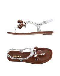 Prada White Toe Strap Sandal