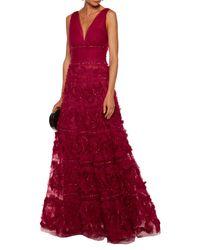Vestido largo Marchesa notte de color Red