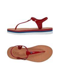 Igor - Red Toe Strap Sandals - Lyst