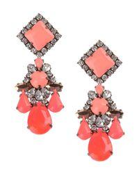 Shourouk Pink Gunmetal-tone Crystal Earrings