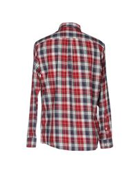 Armani Jeans - Red Classic Fit Button Down Check Shirt for Men - Lyst