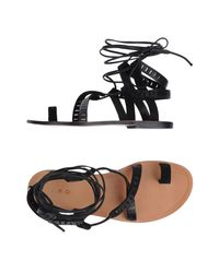 IRO Black Toe Strap Sandal