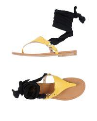 Carla G Yellow Toe Post Sandal