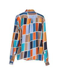 MSGM - Orange Shirt - Lyst