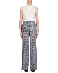 Armani Jeans Blue Diamond Print Wide Leg Trousers