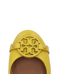 Tory Burch - Yellow Mini Miller Textured-leather Ballet Flats - Lyst