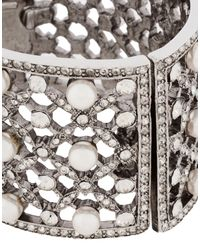 Oscar de la Renta Metallic Lattice Pearl Bracelet