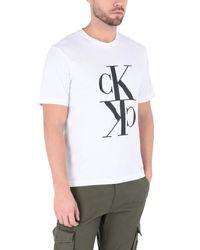 Camiseta con logo estampado Calvin Klein de hombre de color White