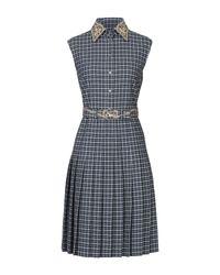Thom Browne Blue Plaid Embroidered Shirt Dress