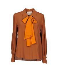 Erika Cavallini Semi Couture Brown Shirt