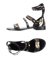 Manila Grace Black Sandals