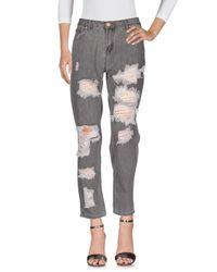 Glamorous - Gray Denim Trousers - Lyst