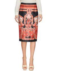 Piccione.piccione Red Knee Length Skirt