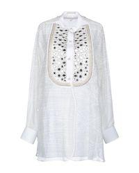 Etro White Mandarin Collar Shirt With Mirror Embroidery