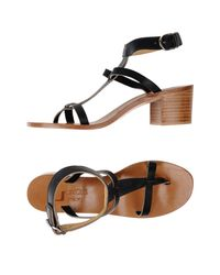 K. Jacques - Black Toe Post Sandal - Lyst