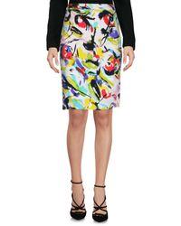 Blue Les Copains White Knee Length Skirt